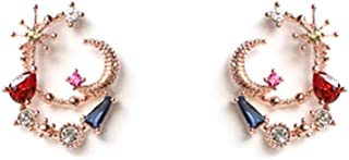 Moon and Star Stud Earrings with Cubic Zirconia for Woman Teen Girls