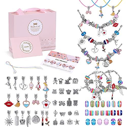 CGBOOM Juego de 67 pulseras con abalorios, pulseras, para niñas, manualidades, regalo de Navidad, regalo de cumpleaños para niñas, 5, 6, 7, 8, 9, 10, 11, 12, 13 años