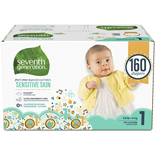 Seventh Generation Baby Diapers for Sensitive Skin, Animal Prints, Size 2, 180 Count (Packaging May...