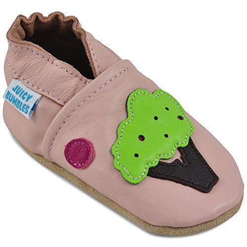 Juicy Bumbles - Weicher Leder Lauflernschuhe Krabbelschuhe Babyhausschuhe mit Wildledersohlen. Junge Mädchen Kleinkind- Gr. 18-24 Monate (Größe 24/25)- Baum und Vogel