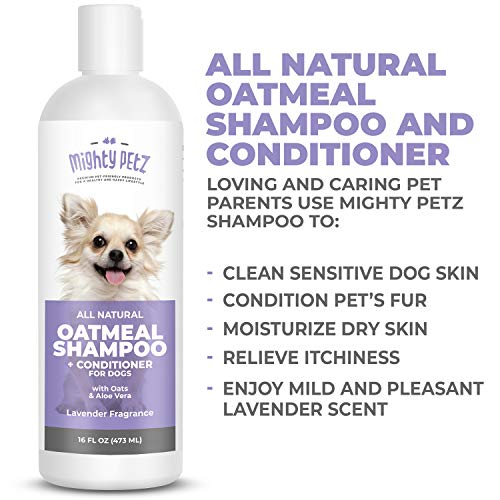 2-in-1 Oatmeal Dog Shampoo and Conditioner – All Natural Relief for Itchy, Dry, Sensitive Skin with Soothing Aloe Vera + Baking Soda + pH balanced. Get Smelly Dogs Coat Fresh and Moisturized, 16 oz