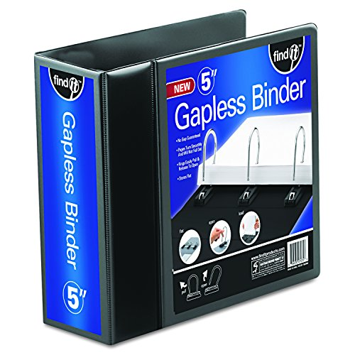 Find It Heavy Duty Flat View Binder, 5 Inches, Black (FT07075)