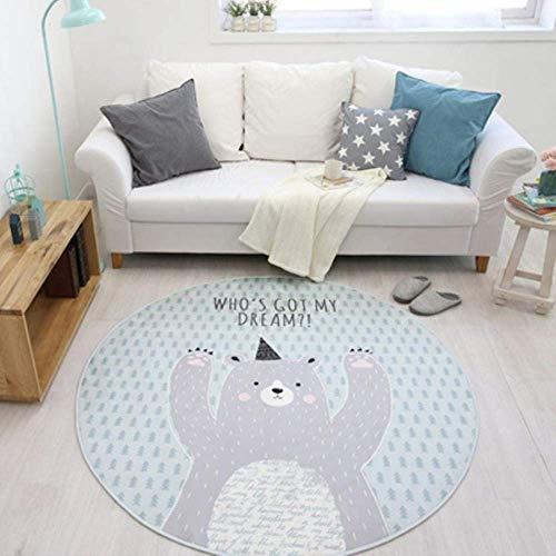 Tapis de Motif de cerf de Fleurs Salon Chambre à Coucher Tapis Enfant Non-Slip Home Décoration, Florals Deer, Diamètre 1000mm