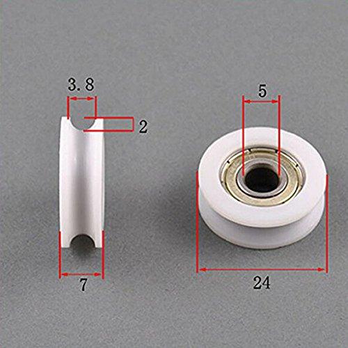 Los rodamientos de bolas flexibles de nylon de los rodillos de bolitas 4pcs 5 * 24 * 7m m U acanalan el rodillo para los muebles