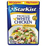 PREMIUM CHICKEN – StarKist Premium White Chicken pouches feature fully cooked, tender chicken that is ready to enjoy in all of your favorite recipes. It's perfect for quick snacks or meals on the go. EXCELLENT SOURCE OF PROTEIN – Each chicken pouch i...