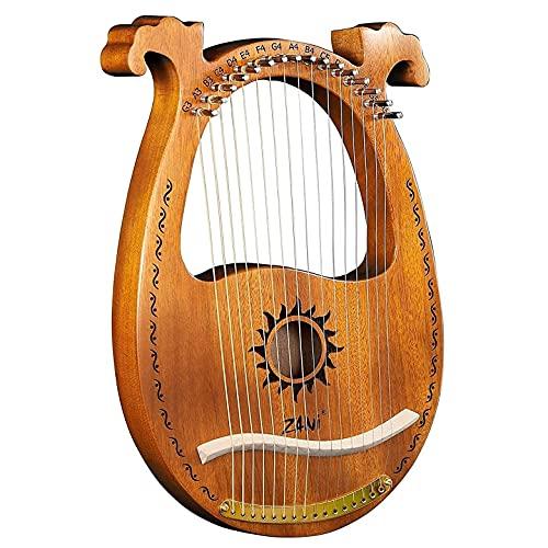 FISISZ Lyre Harfe, 16 Metallsaiten Knochen Sattel Mahagoni 3D polierte Ecken, 16-Saiter Lyre Harp Mit Stimmhammer Leicht zu Lernen Für Instrumentenliebhaber (Blanco : Natrual)