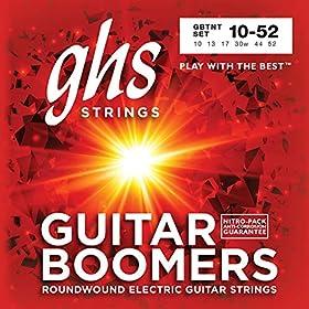 Cuerdas diseñadas para la guitarra eléctrica Hechas con alambre de acero inoxidable envuelto alrededor de núcleo de acero hexagonal estañado Producen un sonido equilibrado Tamaño: 10-52