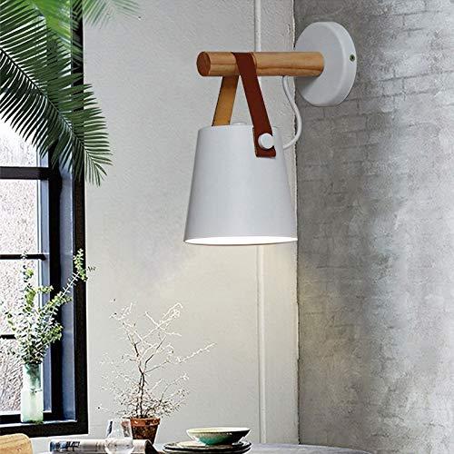 WUYUESUN Madera Simple Creativa de los Nordic Light Led Dormitorio lámpara de cabecera decoración Morden Living Room Hotel Corredor E27 Lámparas de Pared