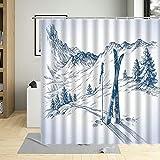 Winter Schnee Berg Baum Landschaft Cartoons Duschvorhang Seilbahn Ski Feld Hängende Gardinen Polyester Stoff Badewanne Dekor 180x180cm B