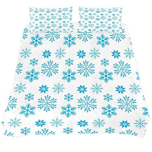 267 JlOn Microfiber Duvet Cover Sets 3 Pieces (2 Pillowcase,1 Duvet Cover) Snowflake Winter Decorative Bedroom Double