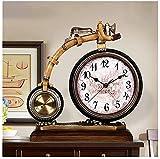 Reloj de escritorio Reloj de mesa Decor de sala de estar Reloj de mesa Personalidad Bicicleta Reloj de mesa pequeño Reloj de mesa retro nórdico Reloj de mesa creativo Regalo de Decor del hogar (C