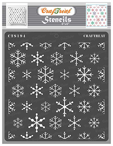 CrafTreat Snowflake Background Stencils for Painting on Wood, Canvas, Paper, Fabric, Wall and Tile - Snowflake Background Stencil - 6x6 Inches - Reusable DIY Art and Craft Stencils for Christmas