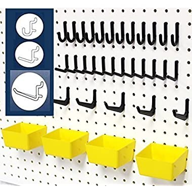 WallPeg 43 Pc. Peg Board Storage System - Pegboard Hook Assortment Organizer Bins Y/B # AM 302- 2