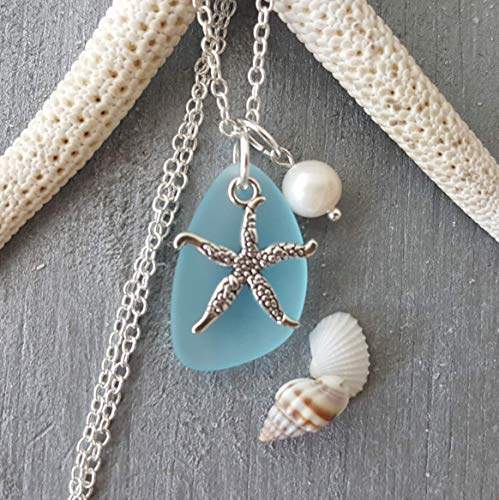 Handmade in Hawaii, turquoise bay blue sea glass necklace,starfish charm,freshwater pearl,'December Birthstone', (Hawaii Gift Wrapped, Customizable Gift Message)