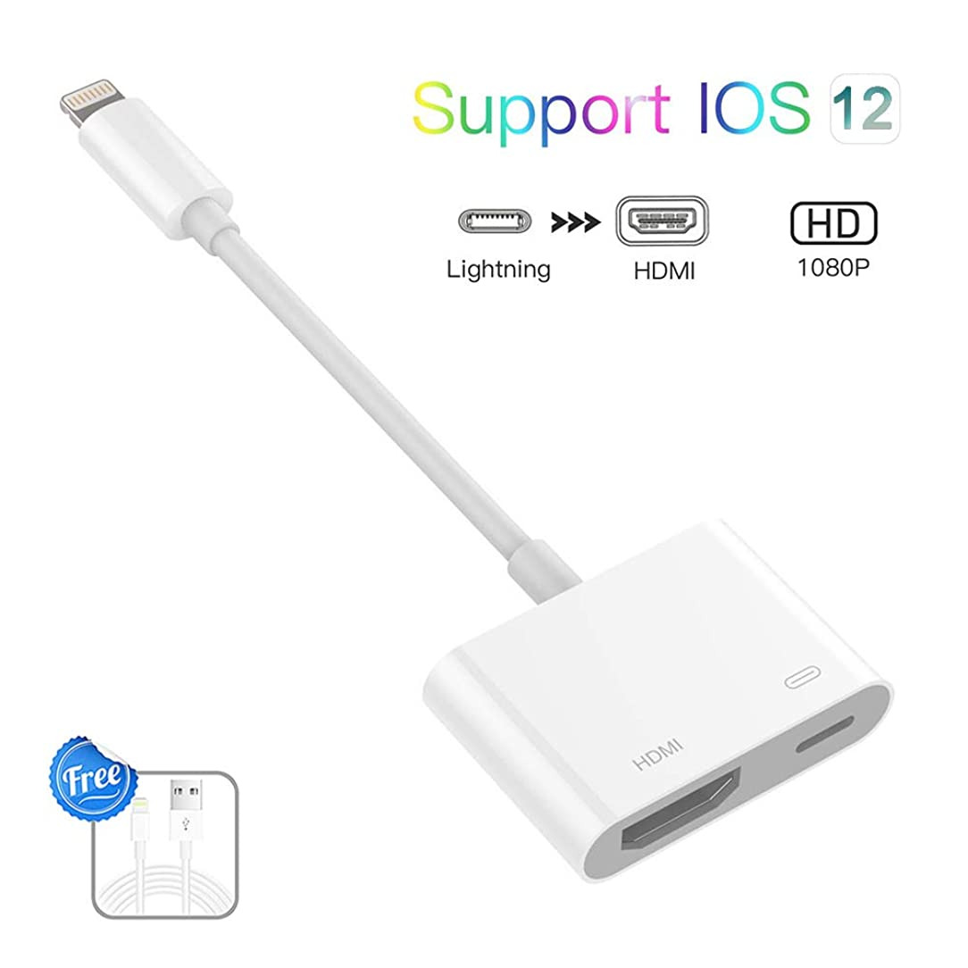 Lighting to HDMI Adapter, Lighting Digital AV Adapter 1080P with Lighting Charging Port for Select iPhone, iPad and iPod Models and HDTV Monitor Projector, No APP Needed,Plug and Play