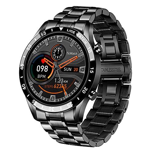 LIGE Smartwatch Herren, Fitness Tracker IP67 wasserdichte mit Blutdruck Herzfrequenz Schlafmonitor Schrittzähler Stoppuhr Bluetooth Smartwatch Edelstahl Armbanduhr für Android IOS