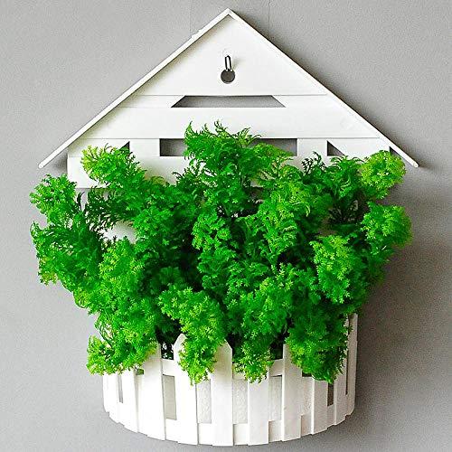 Xgruisi Kunstbloemen, wandbehang, hangend, bloem, in pot om op te hangen, mand, decoratie thuis, straald en plant op de muur – kleur kaki diep