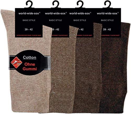 world wide sox | Socken & Strümpfe für Herren | Baumwolle elastisch ohne Gummidruck | 4 Paar | mittelbraun, natur, dunkelbraun, braun | 43-46