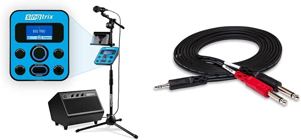 Singtrix Party Bundle on SharkTank & Kardashians, Karaoke Machine Transforms Your Voice & Hosa CMP-159 3.5 mm TRS to Dual 1/4