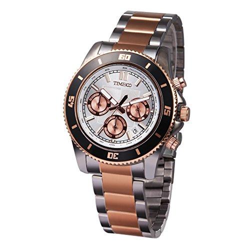 Time100 alla Moda Orologio Uomo al Quarzo in Acciaio Multifunzione Resistenza all'Acqua #W70081G.03A