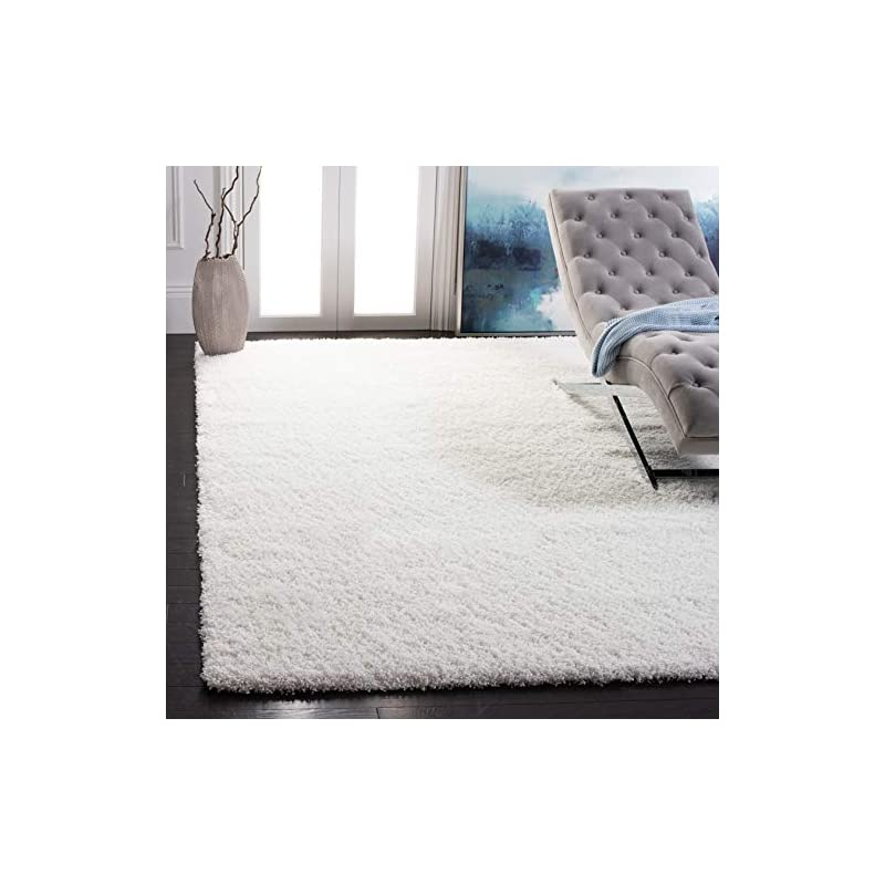 silk flower arrangements safavieh california premium shag collection sg151 non-shedding living room bedroom dining room entryway plush 2-inch thick area rug, 8' x 10', white