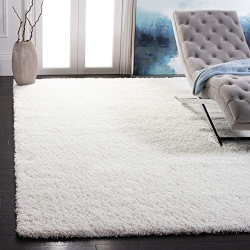 Safavieh California Premium Shag Collection SG151-1010 2-inch Thick Area Rug, 8' 6' x 12', White
