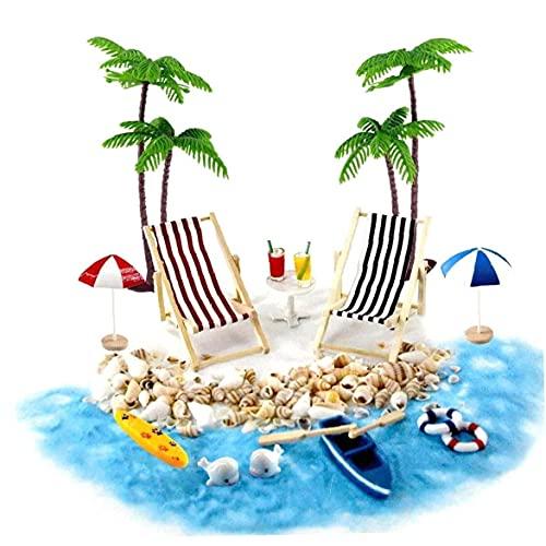 fedsjuihyg Accesorios Decorativos Jardín Casa de muñecas en Miniatura Accesorios Beach Decoración del Paisaje de la Playa Micro con tumbonas Parasoles de la Palmera para el Verano 18PCS