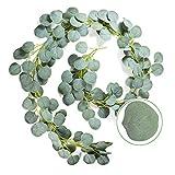 Sylbapestry Künstliche Eukalyptus-Girlande, Blätter, Blätter, Girlande, grüne Wanddekoration für Hochzeitsparty, Hintergrund (Eukalyptus, 1)
