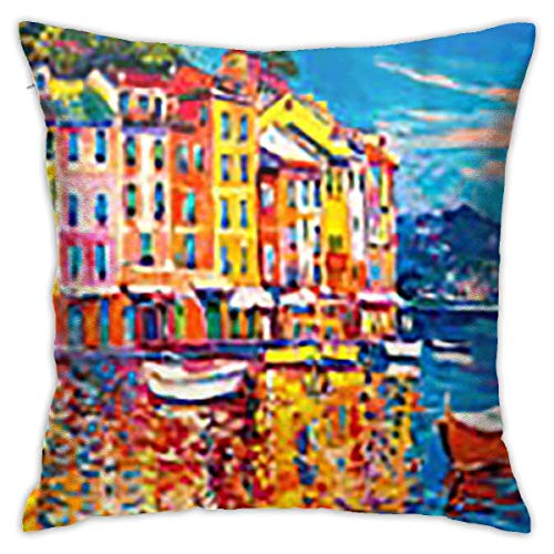 Hangdachang Square Throw Pillow Cover,Nikolov Watercolor Portofino Original On Canvas Oil Boats Italy Nature Blue Paint Abstract by Decorative Pillow Case for Sofa 18 x 18 inch