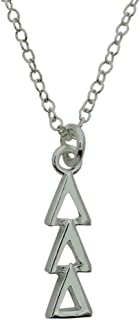 Tri Delta Delta Delta Greek Sorority Lavalier Drop Charm Pendant with Necklace Chain Silver Plated