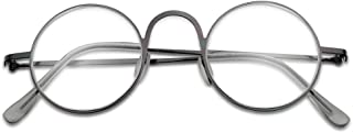 Lightweight Flexible Stainless Steel 43mm Round Metal Computer Reading Glasses for Men and Women (Gun Metal Frame, 1.50)
