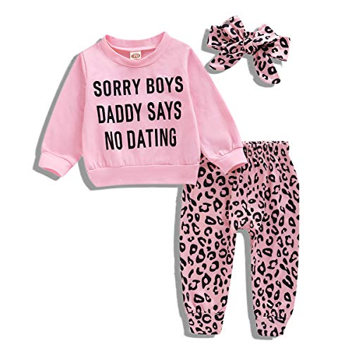 Kid Girl Outfit Leopard Outfit Sorry Boys Daddy Says No Dating Shirt Leggings Pants Headband Fall Clothes(24-36 Months,Pink)