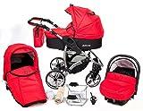 Allivio - Sistema de viaje 3 en 1, silla de paseo, carrito con capazo y silla de coche, RUEDAS GIRATORIAS y accesorios (Sistema de viaje 3 en 1, rojo claro)