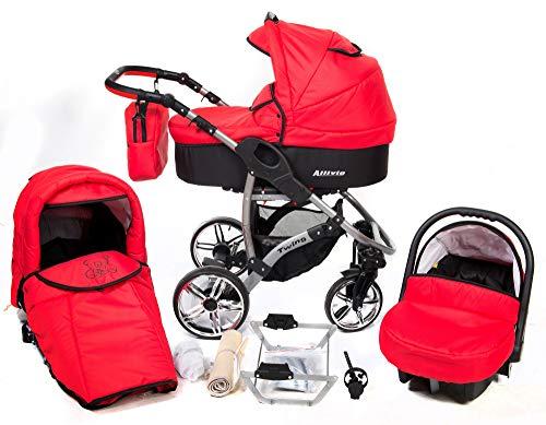ALLIVIO - Landau pour bébé + Siège Auto - Poussette - Système 3en1, incluant sac à langer et protection pluie et moustique (Système 3en1, rouge)