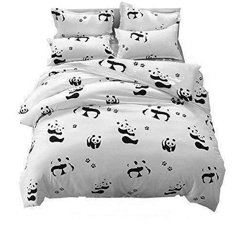 LemonTree Kids Panda Bedding Set - Child Soft Grey Duvet Cover - White and Black Gray Panda Pattern,Hypoallergenic,Microfiber,1 Duvet Cover+2 Pillowcases JUST Cover NOT Comforter (Twin, 03 Panda)