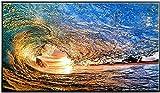 XMYC Pintura Moderna Color Sol Océano Ola Paisaje Marino Abstracto Arte Moderno Póster Impresiones Imagen Decoración de la Pared Viva 60x120cm Sin Marco