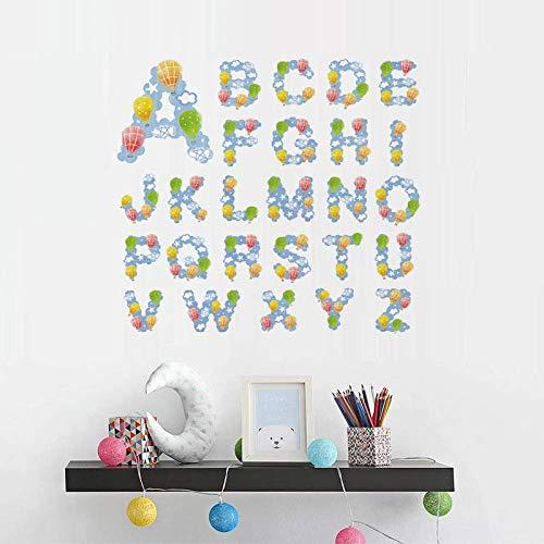 Diy Globo Aerostático Estrellas Nubes Letras Inglesas Autoadhesivas Pegatinas De Pared Habitación Infantil Kindergarten Dormitorio Pegatinas 28X28 Cm