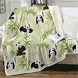 EIIORPO Cartoon Panda Sherpa Throw Blanket Super Soft Cozy Plush Fleece Blanket for Bed Couch Chair Baby Crib Living Room Lovely Fuzzy BlanketforGirls and Boys (40'×60',Bamboo Panda)