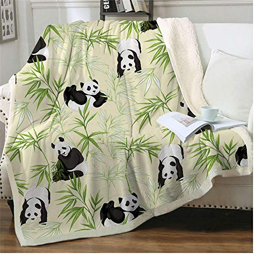 INNOLITES Cartoon Panda Blanket Sherpa Throw Blanket Super Soft Cozy Plush Fleece Blanket for Bed Couch Chair Baby Crib Living Room Lovely Fuzzy Blanket for Girls and Boys 40'×60'. (Bamboo Panda)
