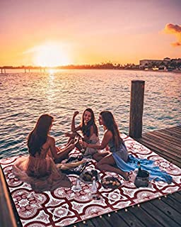 Smart Design Reversible Outdoor/Indoor Plastic Rug/Mat, Easy to Clean and Fold,Perfect for RV,Deck,Patio,Camping,Pianic and Beach-(Red,8x10)