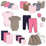 Hudson Baby Unisex Layette Start Set Baby Shower Gift 25pc, Prints Leopard, 0-6 Months