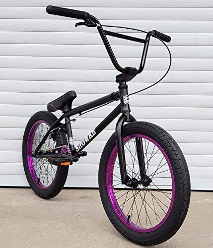 GASLIKE Bici BMX da 20 Pollici per Ciclisti Principianti e avanzati, Telaio Ammortizzante in Acciaio al Cromo-molibdeno ad Alta Resistenza, Cambio BMX 25X9T, Design del Freno a Forma di U,Black Red