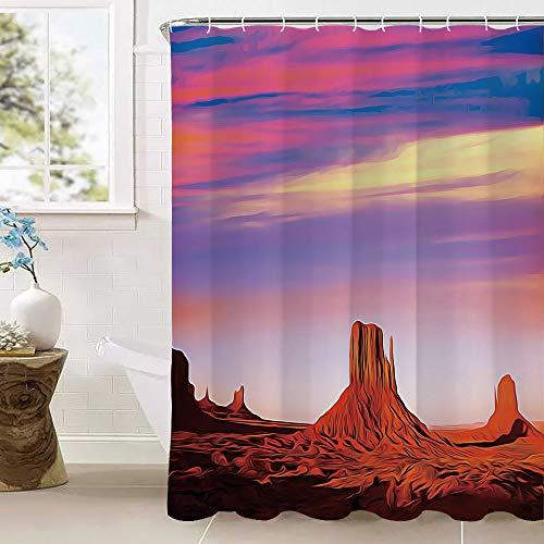 United States Badgordijnen, Monument Valley West Mitten en Merrick Butte Sunset Utah Desert Waterdichte schimmelwerende polyester stof Badkamersetsmet 12 haken (100% Polyester) Donker oranje Roze