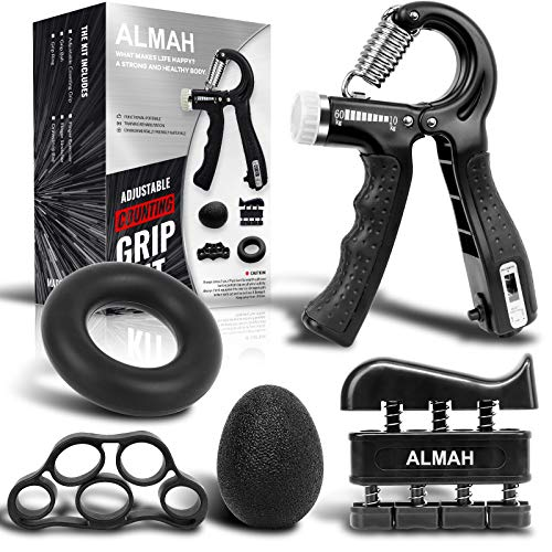 ALMAH Grip Strength Trainer kit(5 Pack), Forearm Workout Trainer Adjustable Hand Grip Strengthener,Finger Strength Exerciser, Finger Stretcher, Grip Ring & Stress Relief Ball with Carry Bag