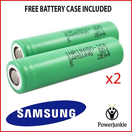 Samsung 25R / 18650 High Drain 3,7 V / 2500 mAh 20 35 A, inkl. Schutzhülle, 2 Stück