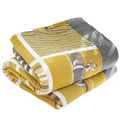wjmss Manta de Cadena de Gasa de algodón de Cinco Capas, Manta Suave y cómoda, Colcha de Aire Acondicionado para Software/sofá/sillas/sofá - Ligero 150 * 200 cm