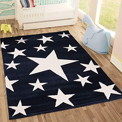 Kinderteppich Sky Sterne | Kinderteppich für Mädchen und Jungen | Teppich für Kinderzimmer | Stern | Blau Rosa | Schadstofffrei Kinderzimmerteppiche geprüft von Öko-Tex (Blau, 120x170 cm)