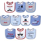 Hudson Baby Unisex Baby Cotton Terry Drooler Bibs with Fiber Filling, Handsome Eyes, One Size