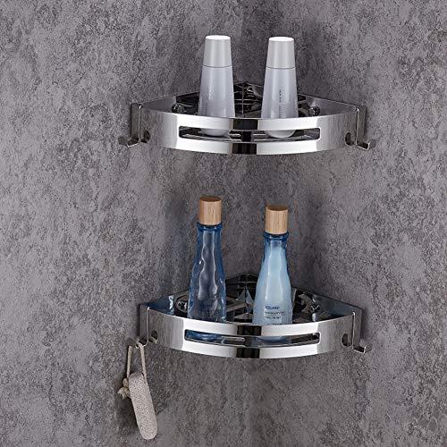 ENCOFT 2er Eckregal Dusche Ohne Bohren Edelstahl Bad Organizer Duschregal Duschkorb Rostfrei Duschablage mit 4 Haken für Bad WC Küche (Silber)