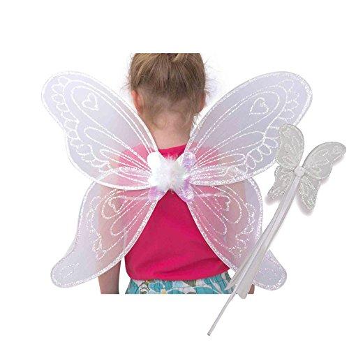 Lucy Locket Ali da angelo (costumi da Carnevale, ali da fata, bacchetta magica per bambini) Ali da angelo bianche per bambini (3-10 anni)